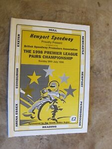 1998 Motorcycle Speedway Programme - Newport hosts Premier league Pairs Champion