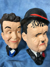 Vintage Laurel and Hardy Chalkware Head Bust Wall Plaque Hangings