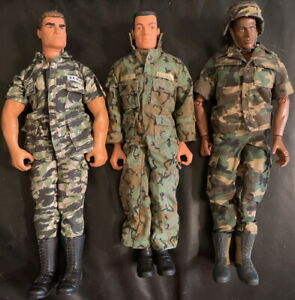 "GI JOE Poseable Action Figures Lot of 3 Vintage 12"" Military Camo 1990s/2000s D"