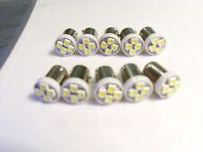 10 LED PINBALL BULBS 4 SMD LED BULBS 6.3V Ba9s WHITE #44 #47 light Super Bright