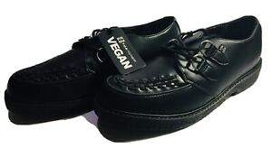 T. U. K. Shoes A9334 Pointed Lace Up Vegan Black Leather Creepers New w/Box