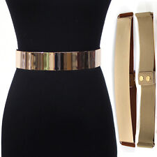 Women Fashion Mirror Metal Gold Plate Belt Elastic Stretch Metallic Obi Waist