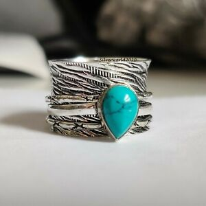 Turquoise Spinner Ring 925 Sterling Silver Plated Handmade Ring Size 6.5 P537