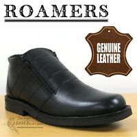 Roamers Classic Men's Thermal Lined Leather Shark Boots Black Smart Casual Shoes