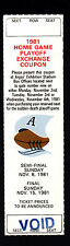 Toronto Argonauts 1981 Unissued Ticket Playoff Exchange Coupon