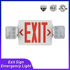 Led Exit Sign Emergency Light Hi Output Compact Square Head Combo Ul Listed 3w