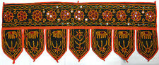 Beautiful Mirrored Indian Toran Wall Hanging - Black with Red Border (BLR10)