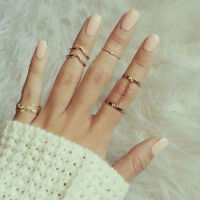 6pcs Set Gold Rings Crystal Above Knuckle stacking Band Midi Mid Ring new