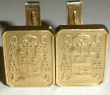 heraldic coat of arms Egyptian revival Vintage Solid 14K Yellow Gold Cufflinks