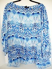 CHAPS SHEER BLOUSE TOP W/TIE AT WAIST SUMMER CRUISE WEAR PLUS SIZE 3X