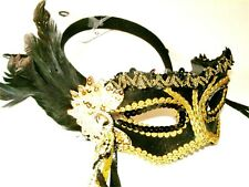 BURLESQUE MASQUERADE HEN PARTY LADIES BLACK FEATHER GOLD SEQUIN EYE MASK NEW
