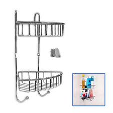 2 Tiers Bathroom Shower Shelf Corner Organiser Caddy Shampoo Storage Holder UKED
