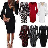 Women's Bandage Bodycon Long Sleeve Evening Party Cocktail Club Short Mini Dress