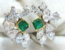 10.90ct Natural Emerald Diamond Crescent Cocktail Earrings Glamour Prime