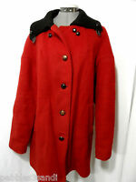 HUDSON BAY 100% Wool Peacoat Jacket women L Red Double Breasted coat Plaid liner