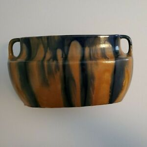 Vintage Belgium Pottery Caramel and Navy Drip Vase Marked # 2198 3 Thulin?