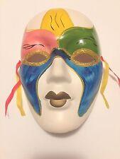 Hand Painted Gold Glitter Woman Mardi Gras Porcelain Mask Blue Green Pink