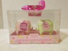 Baby's First Tooth & First Curl Keepsake Box Set Pink & Green Elephants Nib