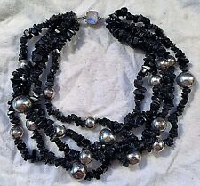 WOMEN'S BLACK CORAL AND SILVER SPHERE MULTIPLE STRAND NECKLACE