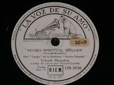 VIOLIN 78 rpm RECORD La Voz de su Amo YEHUDI MENUHIN Capricho Vasco / Negro...