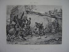 Grande Estampe originale Berne Bellecour Attaque imprévue Soldats Militaires