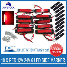 10 X 12V SUPERFLUX LED RED MARKER/CLEARANCE LIGHT - Boat/Trailer/Truck/Caravan