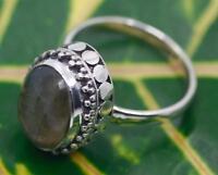 Handmade .925 Sterling Silver Genuine Labradorite Solitaire Bali Dot Style Ring.