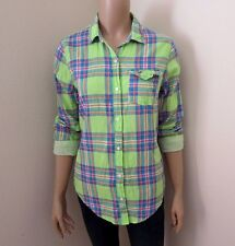 Hollister Womens Plaid Shirt Size XS Button Down Top Blouse Light Green Colorful