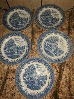 "5- Churchill Currier & Ives ""Harvest"" Blue and White Dinner Plates 10 1/2"""