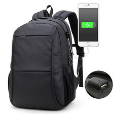 "15.6"" Laptop USB Charge Computer Bag Waterproof 15/17 Inch Men Notebook Backpack"