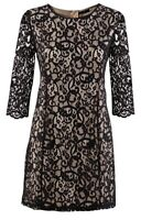 H&M Black Lace & Nude Lined 3/4 Sleeve Tunic Mini Dress Size S 8-10