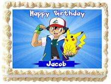 "POKEMON Pikachu and Ash Edible image Cake topper decoration-75""x10"""