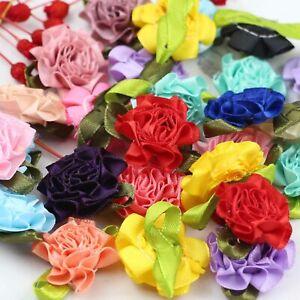 Lot 50P Satin Ribbon Carnation Flower Appliques/craft/Wedding Decoration-U pick