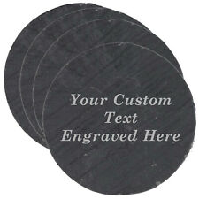Custom Personalized Set of 4 Slate Coasters - Engraved Gift (Square)