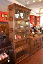 Arts and Crafts Mission Oak Barrister Bookcase 5 stack high with leaded glass