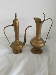 Vintage Tea Pot Brass Islamic India Flower & Engraved Pitcher Signed