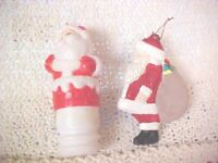 Santa Christmas Ornaments  Holiday Santa Red Suit LOT OF 2 VINTAGE