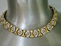 VINTAGE SILVER GOLD TONE HEAVY METAL CHOKER NECKLACE