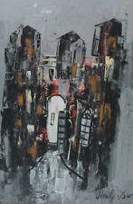 Shaul OHaly (Israeli 1922-2003) Gouache Painting on paper, Abstract cityscape