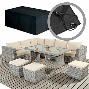 Large Causal Rattan Dining Set Furniture Covers For L Shaped Sofas & Footstalls