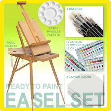 French Easel Set + 3 Paint: Acrylic Watercolor Oil + 3 Boards, Wood Painting Kit