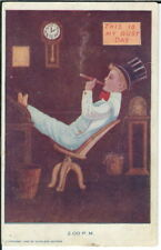 BA-339 This is my Busy Day, 2:00 PM, Boy Smoking 1907-1915 Golden Age Postcard
