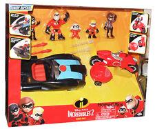 Los Increibles 2 Vehículo Coche Set Plus 5 Figuras Juguetes Elastigirl Disney