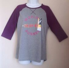 New Athletic Works Purple / Gray Henley Jersey ¾ Slv. Baseball Tee Top M