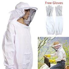 Protective Bee Keeping Jacket Veil Suit +1 Pair Beekeeping Long Sleeve Gloves US