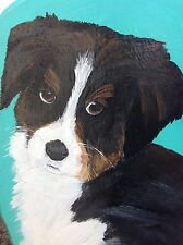 Handpainted signed dog painting on wood / puppy/ border collie?/ Bernese?