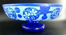 ART DECO French Azurette Cameo Glass Centerpiece Signed Le Verre Francais 1925