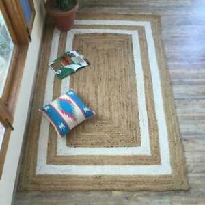 Natural Jute With White Line 100% Handmade Rectangle Home Decorative Look Rug
