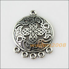 5 New Round Flower Leaf Tibetan Silver Tone Charms Pendants Connectors 22.5x29mm