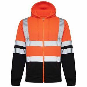 Hi Viz Vis High Visibility Jacket Hoodie Work Zip Hooded SweatShirt Fleece S-5XL